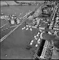 BNPS.co.uk (01202 558833)<br /> Pic: Aerofilms/HistoricEngland/BNPS<br /> <br /> Terrible floods around Felixstowe, 9 February 1953.<br /> <br /> Stunning historic aerial photos of seaside towns, naval bases, ports and shipyards which tell the story of Britain's once-great maritime tradition feature in a new book.<br /> <br /> The fascinating archive of black and white images includes views from a bygone age such as Brighton's famous West Pier, Grimsby's burgeoning fishing fleet, and London's dock yards.<br /> <br /> Iconic ships were also captured from the skies including the Cutty Sark in its final seaworthy years on the Thames, HMY Britannia in 1959, the RMS Queen Mary in 1946 and the SS Queen Elizabeth in 1969 about to make her maiden voyage.<br /> <br /> England's Maritime Heritage from the Air, by Peter Waller, is published by English Heritage and costs &pound;35.