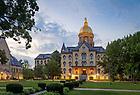 July 12, 2017; Main Building at dusk (Photo by Matt Cashore/University of Notre Dame)