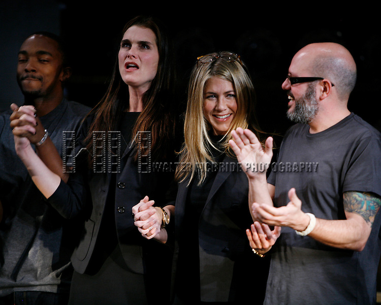Anthony Mackie, Brooke Shields, Jennifer Aniston & David Cross.during the Curtain Call for the 9th Annual Production of The 24 Hour Plays on Broadway at The American Airlines Theatre in New York City..November 9, 2009.© Walter McBride /