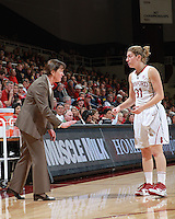 STANFORD, CA - January 7, 2012: Stanford Cardinal's Toni Kokenis and Tara VanDerveer during Stanford's 67-60 victory over Oregon State at Maples Pavilion in Stanford, California.