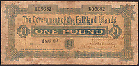 BNPS.co.uk (01202 558833)<br /> Pic: DNW/BNPS<br /> <br /> An extremely rare, very early Falkland Islands £1 note has emerged for sale 105 years later - for £5,000.<br /> <br /> The historic 'Government of the Falkland Islands' note, which has blue print and a geometric watermark, was issued on March 3, 1915.<br /> <br /> Only a few thousand were printed between 1899 and 1920, with examples seldom going under the hammer.<br /> <br /> This note is being sold by an undisclosed vendor with London based auctioneer Dix Noonan Webb.<br /> <br /> An expert said it was unusual for a £1 note from the era not to be redeemed as back then it would have been 'an awful lot of money' - equating to a week's wage for some manual workers.