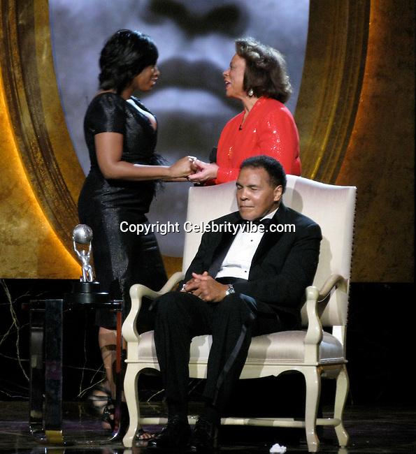 Jennifer Hudson, Muhammad Ali and wife Sonji Roi..NAACP Image Awards 100 years Celebration - Inside.Shrine Auditorium, CA, USA..Thursday, February 12, 2009..Photo By Celebrityvibe.com.To license this image please call (212) 410 5354; or Email: celebrityvibe@gmail.com ;.website: www.celebrityvibe.com.