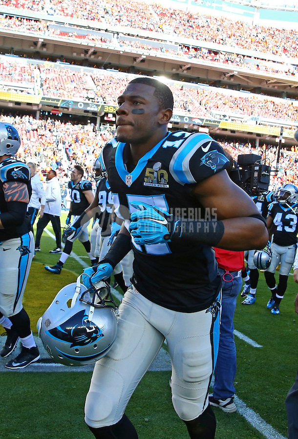 Feb 7, 2016; Santa Clara, CA, USA; Carolina Panthers wide receiver Devin Funchess (17) against the Denver Broncos in Super Bowl 50 at Levi's Stadium. Mandatory Credit: Mark J. Rebilas-USA TODAY Sports