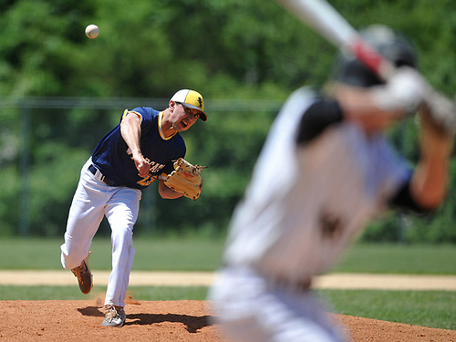 Brian Morrell #23, Shoreham-Wading River pitcher, delivers to the plate during the Class A varsity baseball Long Island Championship against Wantagh at SUNY Old Westbury on Saturday, June 3, 2017.