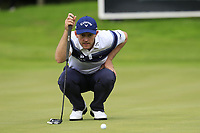 Stuart Manley (WAL) lines up his putt on the 17th green during Sunday's Final Round of the Northern Ireland Open 2018 presented by Modest Golf held at Galgorm Castle Golf Club, Ballymena, Northern Ireland. 19th August 2018.<br /> Picture: Eoin Clarke | Golffile<br /> <br /> <br /> All photos usage must carry mandatory copyright credit (&copy; Golffile | Eoin Clarke)