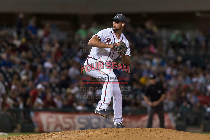 AFL West relief pitcher Kyle Muller (22), of the Peoria Javelinas and Atlanta Braves organization, delivers a pitch during the Arizona Fall League Fall Stars game at Surprise Stadium on November 3, 2018 in Surprise, Arizona. The AFL West defeated the AFL East 7-6 . (Zachary Lucy/Four Seam Images)
