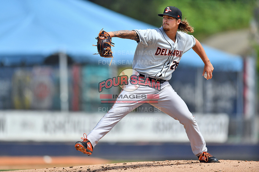 Delmarva Shorebirds starting pitcher Nick Vespi (26) delivers a pitch during a game against the Asheville Tourists at McCormick Field on May 5, 2019 in Asheville, North Carolina. The Shorebirds defeated the Tourists 10-9. (Tony Farlow/Four Seam Images)