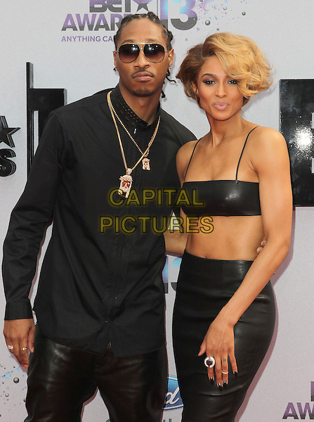 Future (Nayvadius Cash), Ciara Harris<br /> 2013 BET Awards held at Nokia Theatre L.A. Live, Los Angeles, California, USA.<br /> June 30th, 2013<br /> half length black shirt leather trousers sunglasses shades top cropped skirt belly stomach midriff couple gold necklaces <br /> CAP/ADM/KB<br /> &copy;Kevan Brooks/AdMedia/Capital Pictures