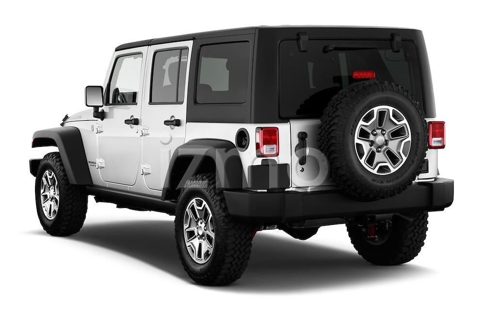 Rear three quarter view of a 2013 Jeep Wrangler Unlimited Rubicon