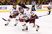 Cam Atkinson (BC - 13), Joe Whitney (BC - 15) - The Boston College Eagles defeated the Northeastern University Huskies 5-4 in their Hockey East Semi-Final on Friday, March 18, 2011, at TD Garden in Boston, Massachusetts.