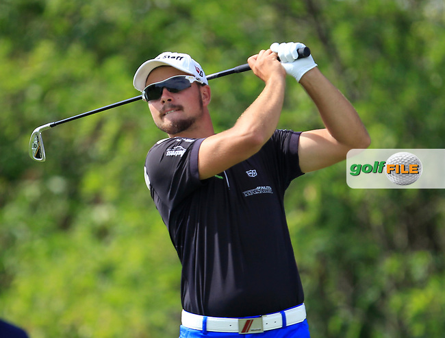 Filip Mruzek (CZE) on the 6th tee during Round 1 of the D+D Real Czech Masters at the Albatross Golf Resort on Thursday 27th August 2015.<br /> Picture:  Thos Caffrey / www.golffile.ie