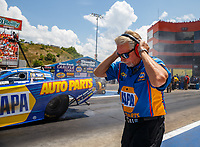 Jun 18, 2017; Bristol, TN, USA; Crew chief Rahn Tobler for NHRA funny car driver Ron Capps during the Thunder Valley Nationals at Bristol Dragway. Mandatory Credit: Mark J. Rebilas-USA TODAY Sports