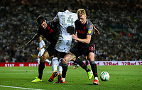 Leeds United's Eddie Nketiah takes in Stoke City's Danny Batth and Sam Clucas<br /> <br /> Photographer Alex Dodd/CameraSport<br /> <br /> The Carabao Cup Second Round- Leeds United v Stoke City - Tuesday 27th August 2019  - Elland Road - Leeds<br />  <br /> World Copyright © 2019 CameraSport. All rights reserved. 43 Linden Ave. Countesthorpe. Leicester. England. LE8 5PG - Tel: +44 (0) 116 277 4147 - admin@camerasport.com - www.camerasport.com
