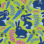 Seamless repeat vector pattern tile of cute bunnies, carrots and branches. Suitable for surface printing.<br /> <br /> Available also as latest EPS format (Scalable to infinite size) and PNG format.<br /> <br /> WANT TO SEE HOW THIS WILL  LOOK WHEN ARRANGED AS A PATTERN?<br /> <br /> You can find the image of whole pattern put together in this gallery only.<br /> <br /> Tip: It should be the image next to this one, or, just search &quot;seamless+bunnies+blue&quot;!