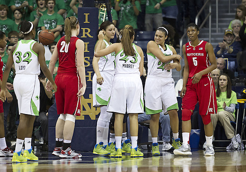 January 13, 2013:  Notre Dame players celebrate made basket during NCAA Basketball game action between the Notre Dame Fighting Irish and the Rutgers Scarlett Knights at Purcell Pavilion at the Joyce Center in South Bend, Indiana.  Notre Dame defeated Rutgers 71-46.