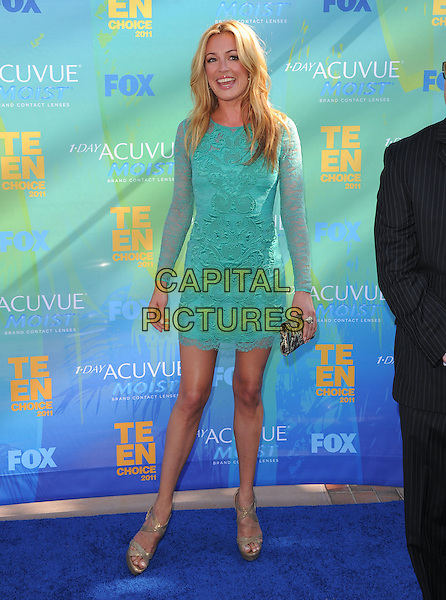 Cat Deeley.The Fox 2011 Teen Choice Awards held at Gibson Ampitheatre in Universal City, California, USA..August 7th, 2010                           .full length green sheer lace dress.CAP/RKE/DVS.©DVS/RockinExposures/Capital Pictures.