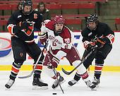 Jack Berger (Princeton - 9), Patrick McNally (Harvard - 8), Michael Zajac (Princeton - 16) - The Harvard University Crimson defeated the Princeton University Tigers 3-2 on Friday, January 31, 2014, at the Bright-Landry Hockey Center in Cambridge, Massachusetts.