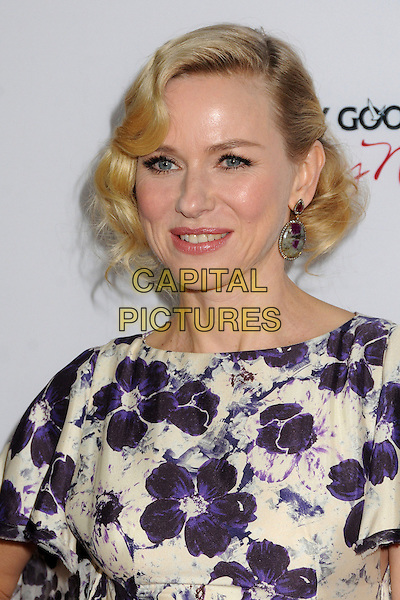 "Naomi Watts.""The Impossible"" Los Angeles Premiere held at Arclight Cinemas, Hollywood, California, USA..December 10th, 2012.headshot portrait white purple floral print hair curls waves retro style earrings   .CAP/ADM/BP.©Byron Purvis/AdMedia/Capital Pictures."