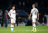 Son Heung-Min & Toby Alderweireld of Spurs at full time during the UEFA Champions League group match between Tottenham Hotspur and Bayern Munich at Wembley Stadium, London, England on 1 October 2019. Photo by Andy Rowland.