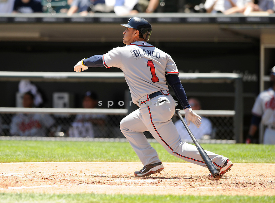 GREGOR BLANCO,  of the Atlanta Braves,  in action during the Braves  game against the Chicago White Sox in Chicago, IL on June 24, 2010. The Chicago White Sox beat the Atlanta Braves 2-0..