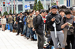 April 28, 2011, Tokyo, Japan - Some 400 people wait in a long line for the opening of Apple Store in Tokyo Ginza shopping district in the morning of Thursday, April 28, 2011, as iPad2 goes on sale in Japan without usual hoopla. The tablet computer was originally set to go on sale on March 25 but was postponed as the country grapples with the earthquake and tsunami devastation. (Photo by Natsuki Sakai/AFLO) [3615] -mis-.