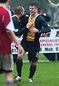Steven Notman celebrates after he scores Berwick's goal.