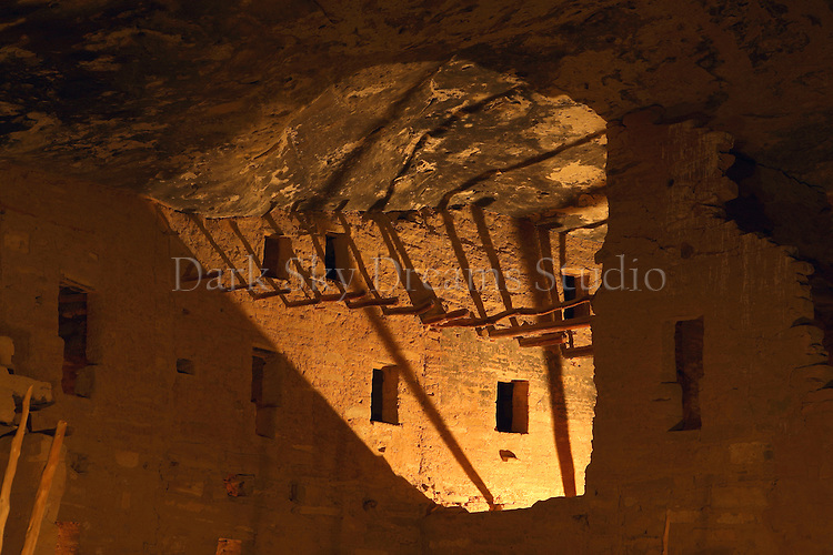 The Spruce Tree House ruins, as seen illuminated for the centenial year celebration closing ceremony at Mesa Verde National Park, located near Cortez, Colorado