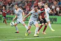 1st January 2020; Bankwest Stadium, Parramatta, New South Wales, Australia; Australian A League football, Western Sydney Wanderers versus Brisbane Roar; Tom Aldred of Brisbane Roar clears the ball as Alexander Meier of Western Sydney Wanderers covers - Editorial Use
