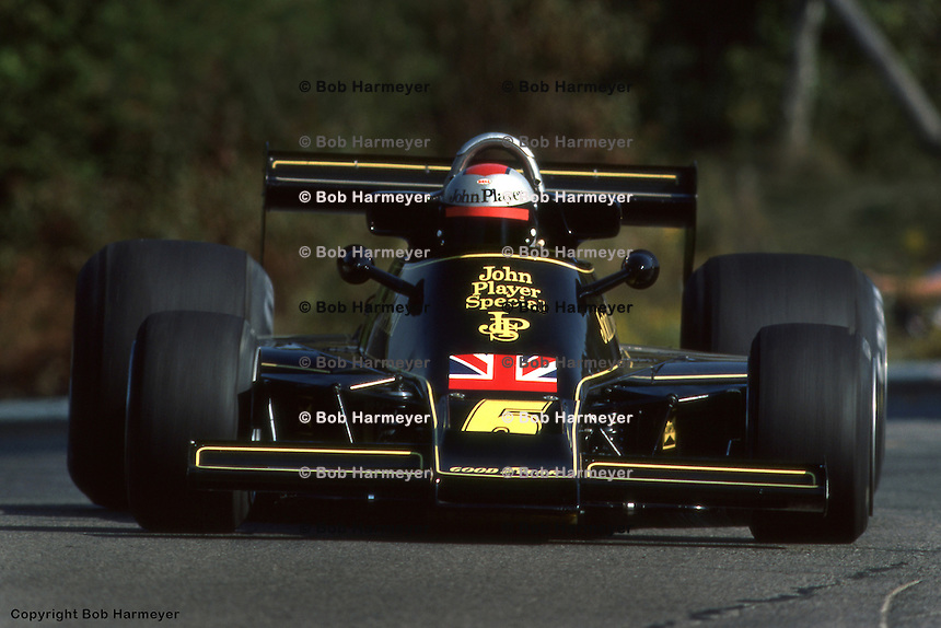 BOWMANVILLE, ONT - OCTOBER 3: Mario Andretti drives his Lotus 77 R1/Ford Cosworth DFV to third place in the Grand Prix of Canada on October 3, 1976, at Mosport Park near Bowmanville, Ontario.