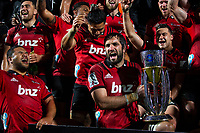 Sam Whitelock captain of the Crusaders and the team celebrates with the trophy following the final whistle in the 2018 Super Rugby final between the Crusaders and Lions at AMI Stadium in Christchurch, New Zealand on Sunday, 29 July 2018. Photo: Joe Johnson / lintottphoto.co.nz