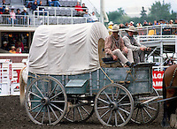 Rodeo Cowboys riding Chuck Wagon in Arena at Calgary Stampede, Calgary, Alberta, Canada - Editorial Use Only