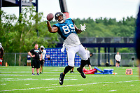 August 7, 2017: Jacksonville Jaguars tight end Marcedes Lewis (89) makes a one handed catch during a joint practice at New England Patriots training camp where they hosted the Jacksonville Jaguars on the practice fields at Gillette Stadium, in Foxborough, Massachusetts. Eric Canha/CSM