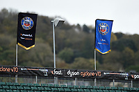 A general view of Bath Rugby flags prior to the match. Premiership Rugby Cup match, between Bath Rugby and Harlequins on October 27, 2018 at the Recreation Ground in Bath, England. Photo by: Patrick Khachfe / Onside Images