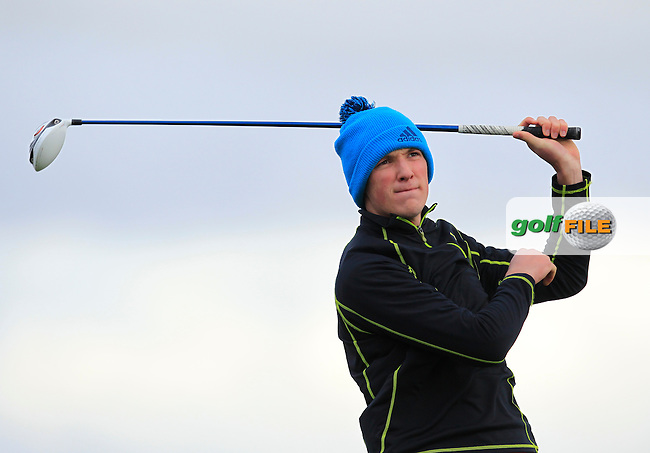 Darragh Flynn (Carton House) on the 12th tee during the Stroke Play Round 1 of the West of Ireland Amateur Open Championship at the Co. Sligo Golf Club in Rosses Point on Friday 25th March 2016.<br /> Picture:  Golffile / Thos Caffrey
