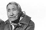 Elderly Lakota woman seen at a bus stop on t he Pineridge Lakota Reservation in South Dakota in Fall, 1983 Photo by Jim Peppler. Copyright/Jim Peppler/.