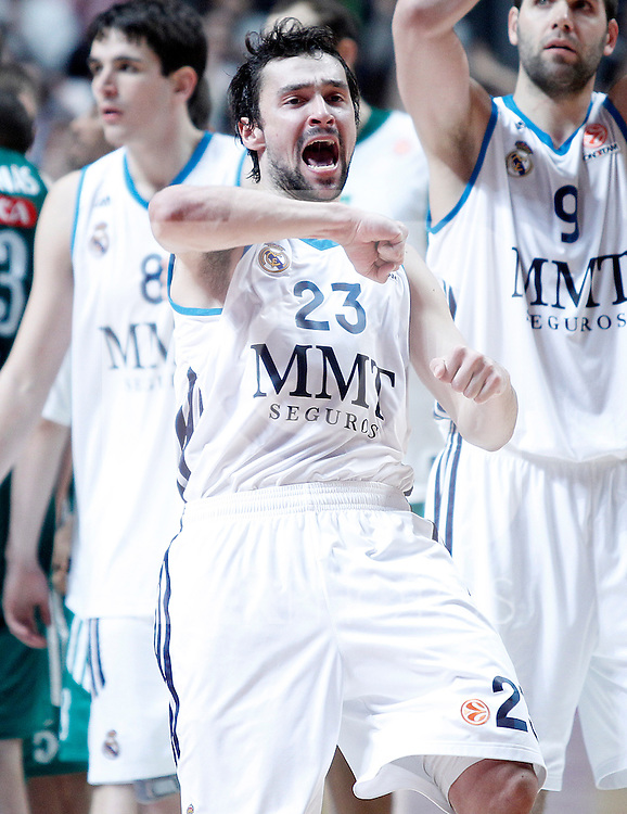 Real Madrid's Sergio Llull celebrates the victory after Euroleague 2012/2013 match.January 11,2013. (ALTERPHOTOS/Acero)
