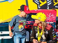 Aug 18, 2019; Brainerd, MN, USA; NHRA top fuel driver Leah Pritchett celebrates with fans after winning the Lucas Oil Nationals at Brainerd International Raceway. Mandatory Credit: Mark J. Rebilas-USA TODAY Sports