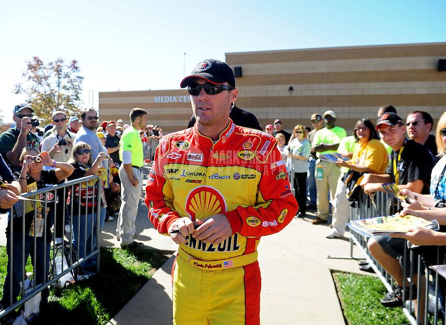 Oct. 1, 2010; Kansas City, KS, USA; NASCAR Sprint Cup Series driver Kevin Harvick during practice for the Price Chopper 400 at Kansas Speedway. Mandatory Credit: Mark J. Rebilas-