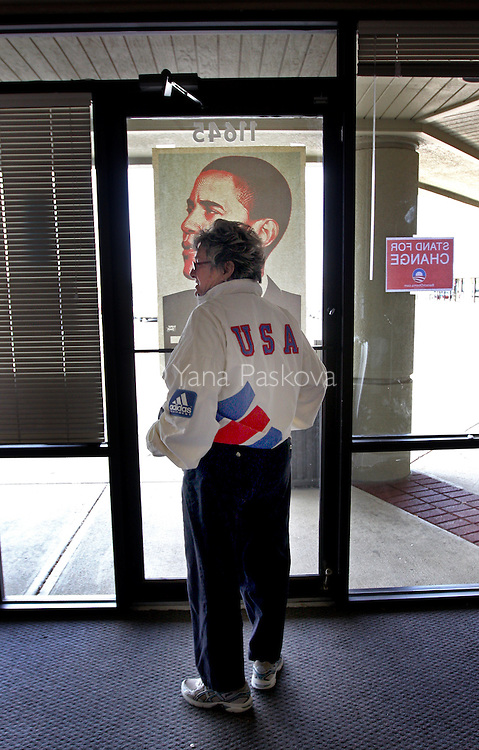 Becky Kapsalis (69) walks out of the headquarters of U.S. Presidential hopeful Barack Obama (D-IL) after making phone calls to voters in Fishers, Indiana, on Tuesday, April 29, 2008. She is a registered Republican and a volunteer for the Obama headquarters in Fishers, whose vote will go to the Democratic party this election. (Photo by: Yana Paskova for The New York Times)..Assignment ID: 30061065A