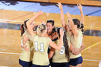 27 September 2008:  FIU's team celebrates a winning shot at the conclusion of the FIU 3-0 (25-13, 25-23, 25-18) victory in straight sets over Troy at Golden Panther Arena in Miami, Florida.