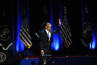 President Barack Obama enters the stage to give his farewell address at McCormick Place in Chicago, Illinois on January 10, 2017.