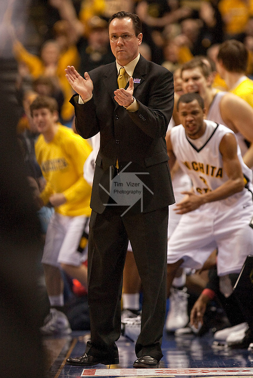 March 6,  2010            Wichita State head coach Gregg Marshall applauds for his team in the first half.  Wichita State defeated Illinois State by a score of 65-61 in the second of two semifinals played on Saturday March 6, 2010 at the Missouri Valley Conference Tournament.  The tournament is being held at the Scottrade Center in downtown St. Louis.  Wichita State advances to play the University of Northern Iowa for the MVC Tournament Championship.  The winner earns an automatic berth in the NCAA Tournament.