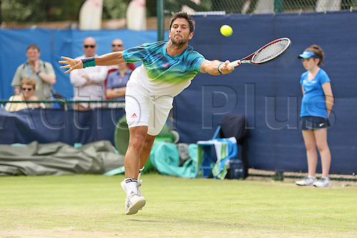 21.06.2016. Nottingham Tennis Centre, Nottingham, England. Aegon Open Mens ATP Tennis. Fernando Verdasco of Spain reaches for a forehand in his victory over Victor Estrella Burgos of Dominican Republic