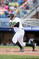 Jamestown Jammers third baseman Kevin Ross (23) at bat during a game against the Mahoning Valley Scrappers on June 16, 2014 at Russell Diethrick Park in Jamestown, New York.  Mahoning Valley defeated Jamestown 2-1.  (Mike Janes/Four Seam Images)