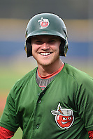 Fort Wayne TinCaps designated hitter Jake Bauers (25) during practice before a game against the Lake County Captains on August 21, 2014 at Classic Park in Eastlake, Ohio.  Lake County defeated Fort Wayne 7-8.  (Mike Janes/Four Seam Images)