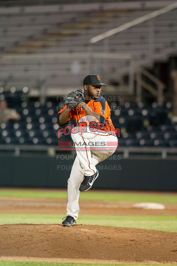 AZL Giants relief pitcher Franklin Van Gurp (55) delivers a pitch to the plate against the AZL Rangers on August 22 at Scottsdale Stadium in Scottsdale, Arizona. AZL Rangers defeated the AZL Giants 7-5. (Zachary Lucy/Four Seam Images via AP Images)
