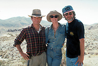 Jurassic Park (1993)<br /> Behind the scenes photo of Steven Spielberg, Sam Neill &amp; Laura Dern<br /> *Filmstill - Editorial Use Only*<br /> CAP/KFS<br /> Image supplied by Capital Pictures