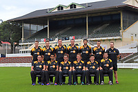 The 2017 Wellington Provincial A team photo at the Basin Reserve in Wellington, New Zealand on Monday, 27 March 2016. Back row, from left: Michael Pollard, Sam Noster, Matt Bacon, Iain McPeake, Obus Pienaar, Ollie Newton, Glenn<br />