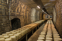 Europe, France, Auvergne, Cantal (15), Valuéjols :    cave de Saint-Ponçy construite dans un ancien tunnel ferroviaire de 220 m de long pouvant accueillir 2500 meules de cantal de  40 kg - Fromagerie des Monts du Cantal, Coopérative  Fromagère de Planèze,  // Europe, France, Auvergne, Cantal, Valuejols: Cave de Saint-Poncy built in a former railway tunnel 220 m long for 2500 Cantal wheels [Non destiné à un usage publicitaire - Not intended for an advertising use]