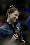 INDIANAPOLIS, IN - MARCH 18: Kaitlyn Jones of the University of Virginia poses with her fourth place trophy during the Division I Women's Swimming & Diving Championships held at the Indiana University Natatorium on March 18, 2017 in Indianapolis, Indiana. (Photo by A.J. Mast/NCAA Photos via Getty Images)